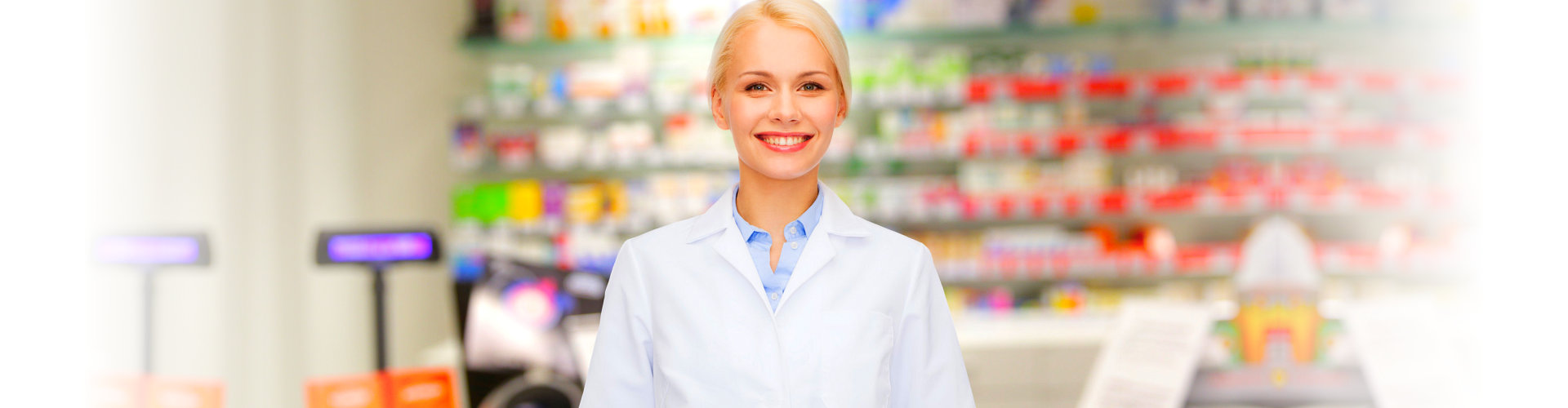 a pharmacist smiling